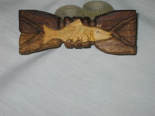 Custom Made Bow Tie - Maple Fish On Black Walnut