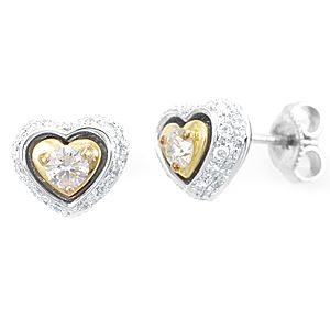 Custom Made Diamond Studded Heart Shape Earrings, Stud Earrings, Heart Shape Earrings
