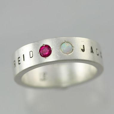 Custom Made 2 Stone Name Ring In Sterling Silver