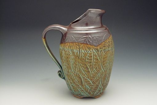 Custom Made English Pitcher With Carved Leaves