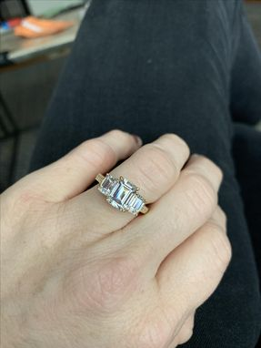 Custom Made 14k Yellow Gold 3.66ct  Emerald Cut Moissanite Anniversary/Cocktail  Ring