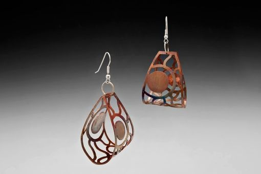 Custom Made Sun Cage Earrings, Copper And Silver