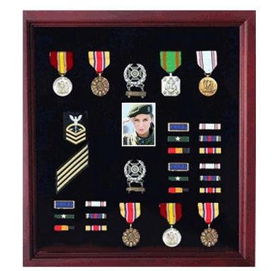Custom Made Photo And Medal Display Case, Military Medal Frame With Photo