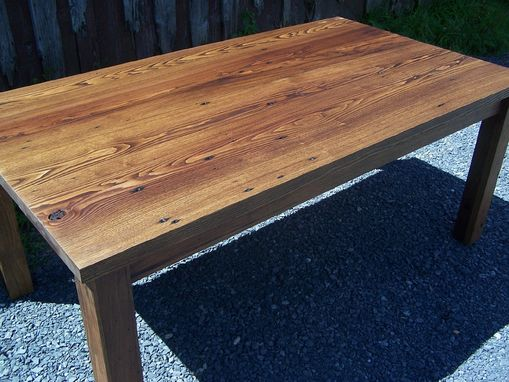 Custom Made Reclaimed Wormy Chestnut California Contemporary Thick Top Table