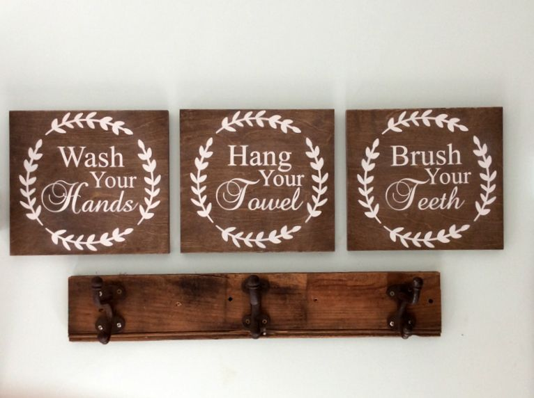 "Hand-made Wooden Plaque /""BATHROOM/"" Sign.."