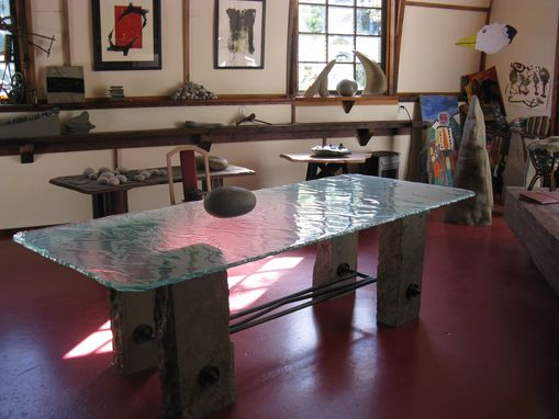 Custom Made Stone And Melted Glass Table