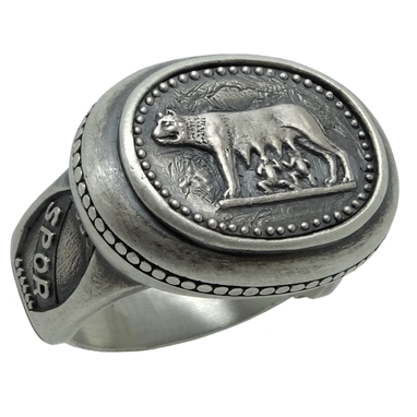 Custom Made Silver Mens Ring Capitoline Wolf Roman Empire Spqr 15gr Templar Masonic Us Size