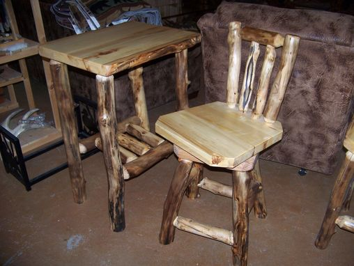 Custom Made Custom Rustic Log And Reclaimed Barn Wood Bar Stools