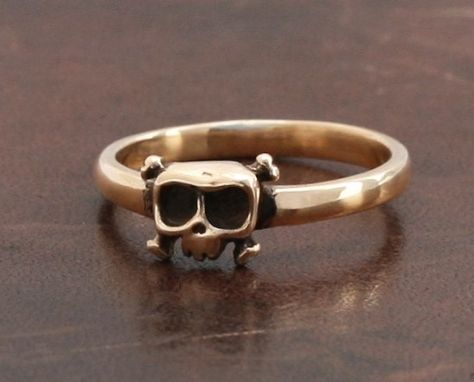 Custom Made Baby Skull Ring, 'Louie' In 14kt Gold - Women Ring - Wedding, Engagement, Gift For Her.