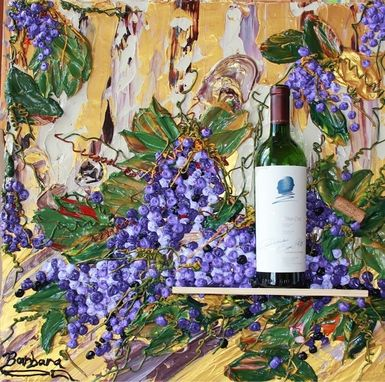 "Custom Made ""Opus One Wine Art"" Impasto Painting"