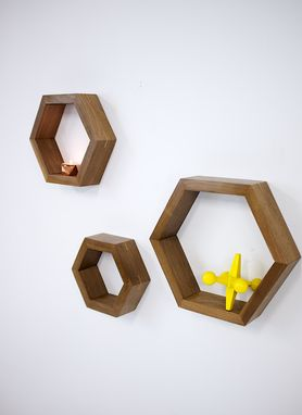 Custom Made Modern Solid Walnut Honeycomb, Hexagon Shelves