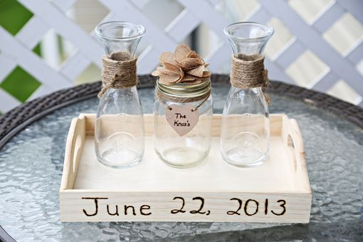 Custom Made Wedding Unity Sand Ceremony Set With Lace, Flower & Tray
