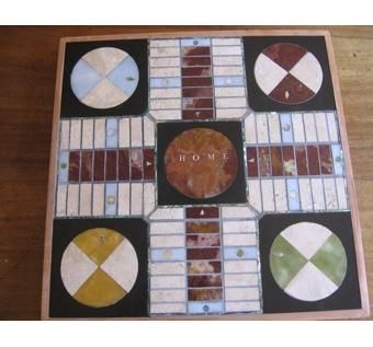 Custom Made Marble And Onyx Parcheesi Board