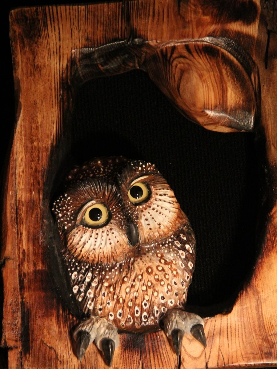 Custom made owl wood carving wall art by donna maries
