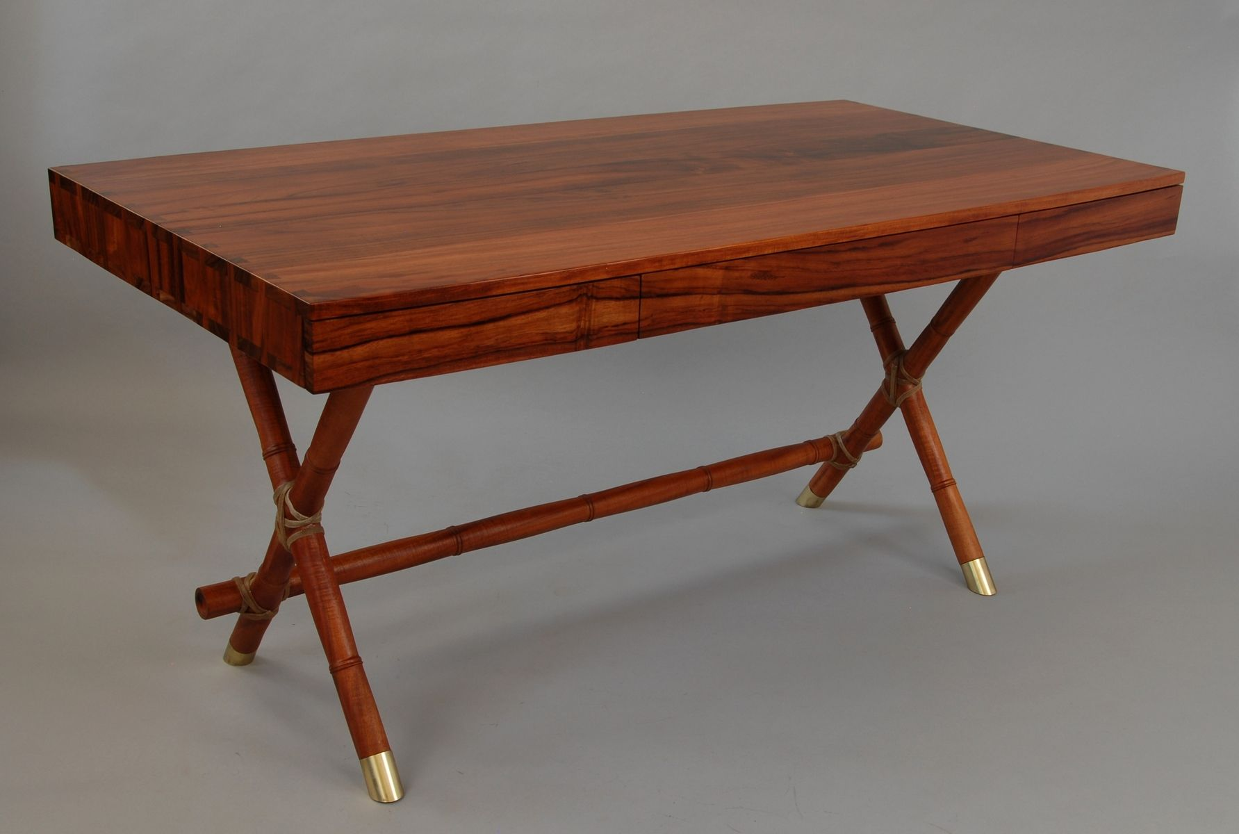 "Hand Made California Walnut ""Bamboo"" Campaign Desk by Hardwood"