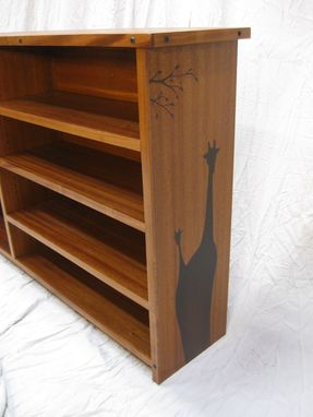 Custom Made Sapelle Bookcase With Giraffe Design.