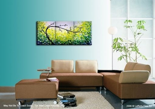 Custom Made Original Green Tree, Abstract Blue Textured Tree, Green Landscape, Palette Knife Tree Painting
