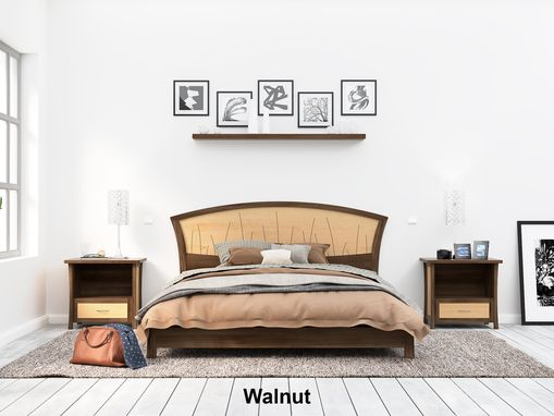 Custom Made Walnut Platform Bed Queen Size, Low Modern Bed Frame Wood, Art Deco, Headboard, King,