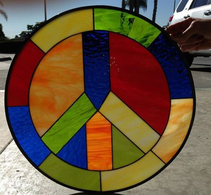 Custom Made Awesome Colorful Peace Sign Stained Glass Window