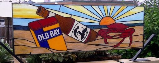 Custom Made Stained Glass Window Panel /  Baltimore's Favorites - Crabs, Old Bay & Natty Boh (W-15)
