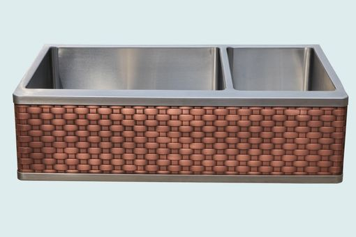 Custom Made Stainless Sink With Woven Copper Apron