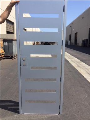 Custom Made Simple Silver Modern Metal Gate Steel Garden Walk Thru Pedestrian Urban Gate