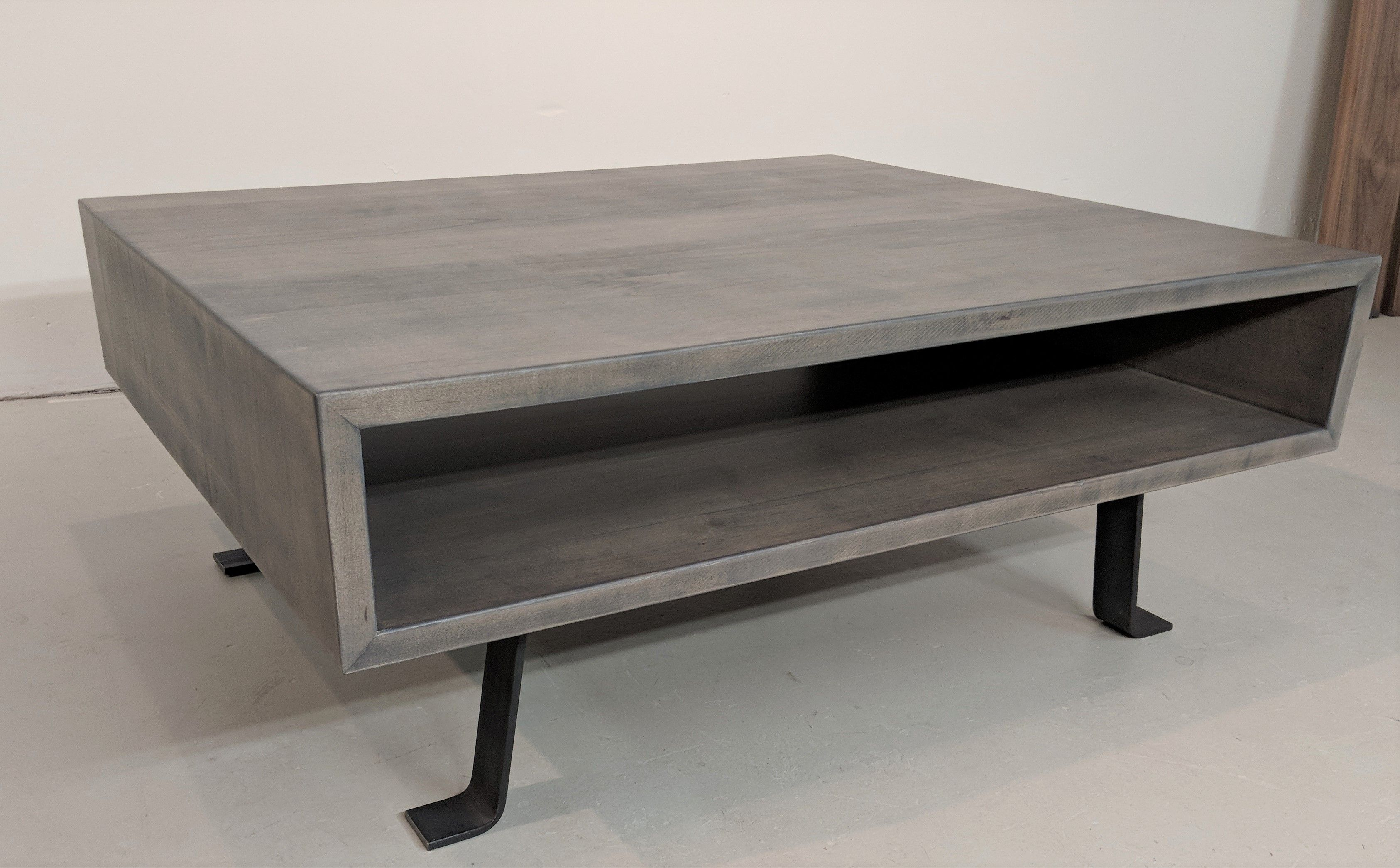 Custom Weathered Gray Coffee Table With Steel