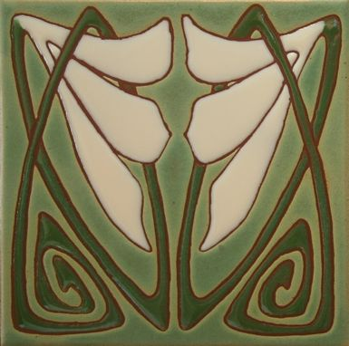 Custom Made Art Deco Tiles - Green And Ivory