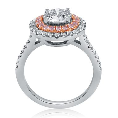 Custom Made Cushion Cut Double Halo Diamond Engagement Ring With Pink Diamonds C20