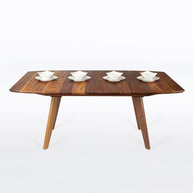 "Custom Made Expandable Dining Table In Solid Walnut With Two Leaves - Seats 4-8 ""Bela"""