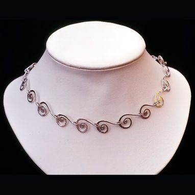 Custom Made Hammered Silver Spiral Link Necklace