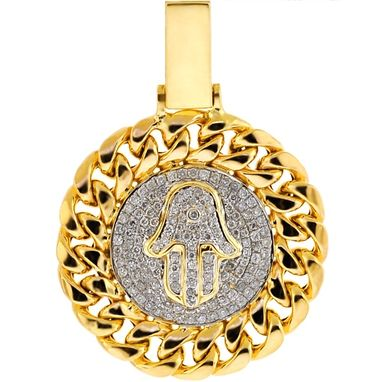 Custom Made Mens Diamond Hamsa Hand Cuban Pendant 10k Yellow Gold 0.74 Ct