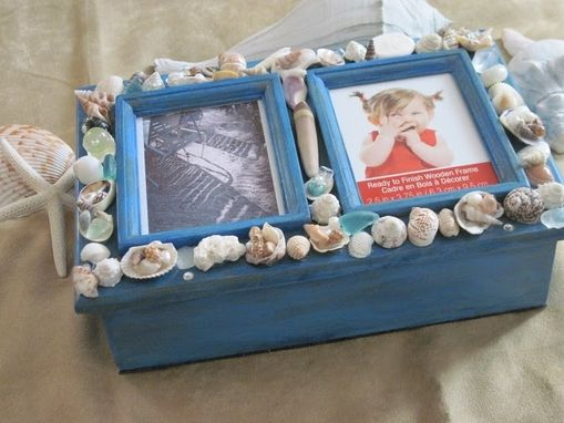 Custom Made Distressed Blue Shelled Keepsake Box