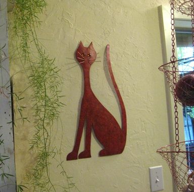Custom Made Handmade Upcycled Metal Whimsical Kitty Wall Art Sculpture