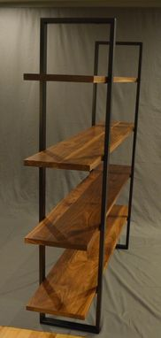 Custom Made Floating Walnut And Steel Bookcase