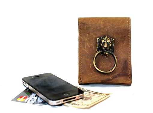 Custom Made Leather Smart Phone Case With Lion Door Knocker
