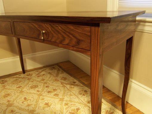 Custom Made Crescent Front Walnut Writing Desk