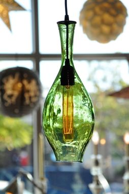 Custom Made Recycled Bottle Beach Glass Hanging Lamp Pendant Vintage Light