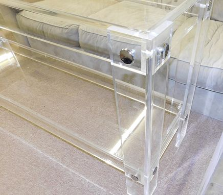 Custom Made Lucite / Acrylic Console Table With Shelf - Button Line- Hand Crafted, Custom Sizing Welcome
