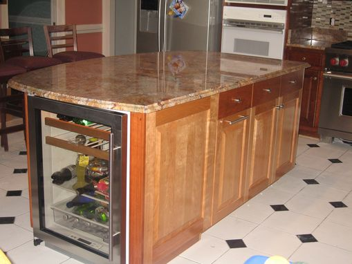 Custom Made Kitchen Island With Winecooler And Granite Countertop