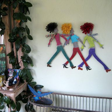 Custom Made Girls Walking Whimsical Wall Sculpture Home Wall Decor - Boulevard