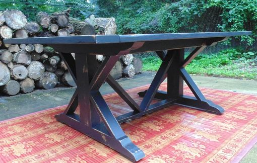 Custom Made Reclaimed Wood Chevron-X Style Farmhouse Table