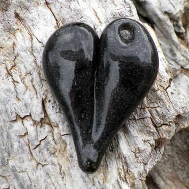 Custom Made Black And Grey Hand-Blown Glass Heart Pendant