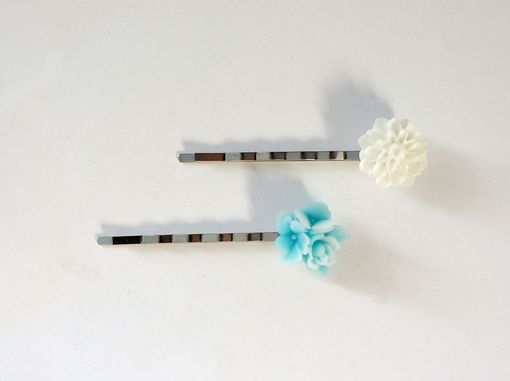 Custom Made Hairpins With Ice Blue Bouquet