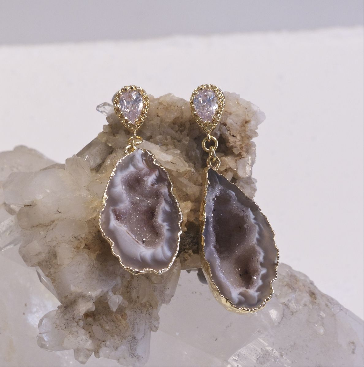 Handmade Raw Mineral Jewelry Geode Earrings By Pauletta
