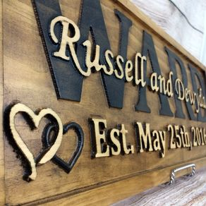 Wedding Gift Family Name Sign Fifth Anniversary Decor By Dakota Callahan