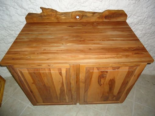 Custom Made Apple Wood Cabinet With Butcher Block Top