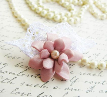 Custom Made Soft Pink Polymer Clay Flower And Freshwater Pearl - Lace Brooch