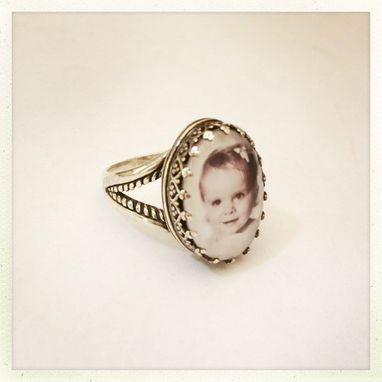 Custom Made Personalized Photo Ring Sterling Silver