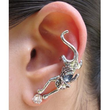 Custom Made Angel Kitty Ear Cuff Silver